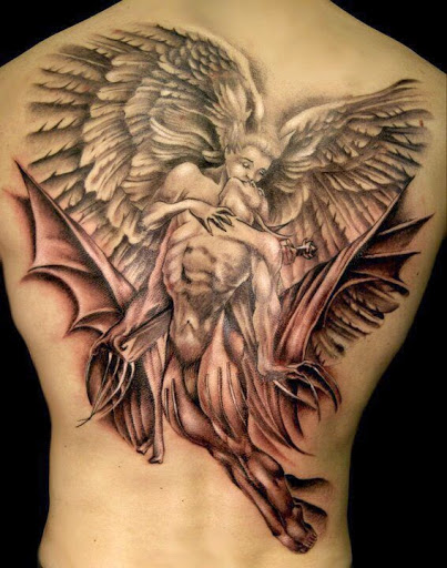 tatuaje de angel bueno y malo Imagenes de Tatuajes de Angeles
