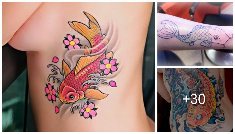 dise os de tatuajes de peces koi y sus significados