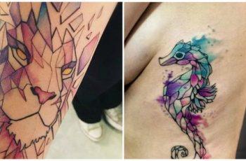 Ideas de Tatuajes Geométricos Con Técnica de Acuarela