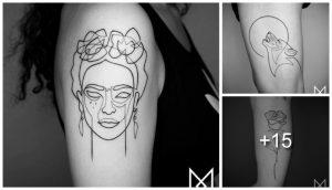 Galeria de Tatuajes del Artista Mo Ganji de un solo Trazo