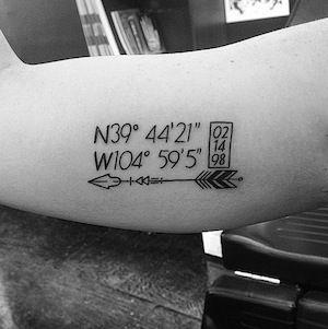 Tatuajes de coordenadas 14 Ideas de Tatuajes con Coordenadas