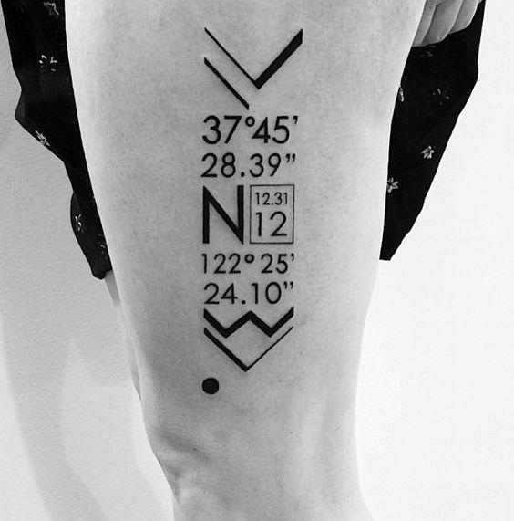 Tatuajes de coordenadas 20 Ideas de Tatuajes con Coordenadas