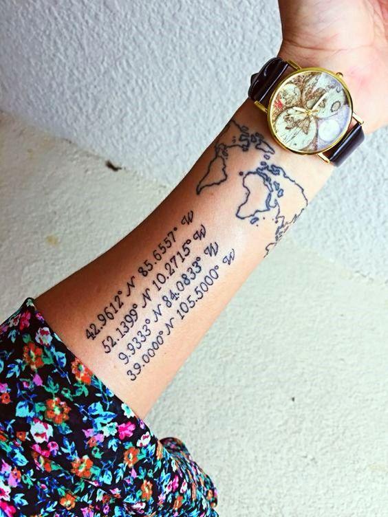 Tatuajes de coordenadas 21 Ideas de Tatuajes con Coordenadas