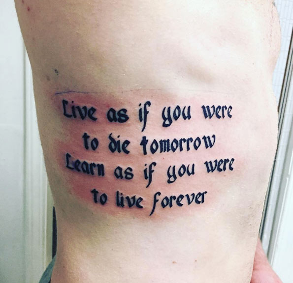 quote tattoo design 24 Tatuajes con Frases