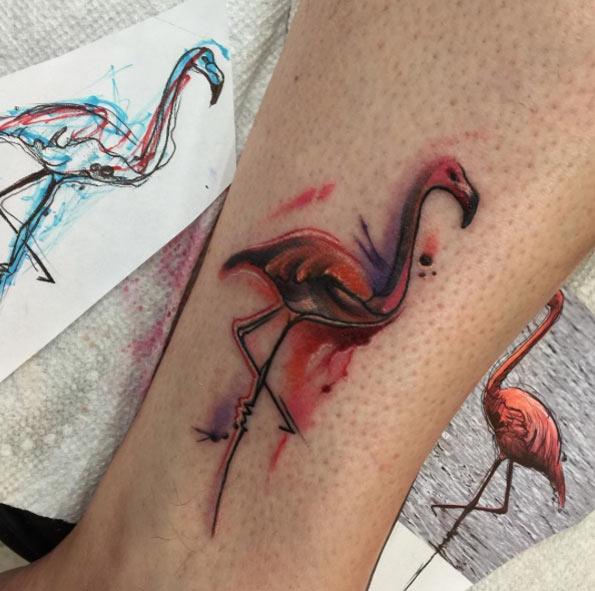 Hermosos y Coloridos Tatuajes de Flamencos